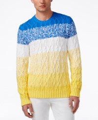 Tommy Hilfiger Men's Aaron Ombre Stripe Cable Knit Sweater Dory Blue