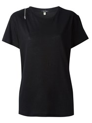 R 13 R13 Shoulder Zip Detail T Shirt Black