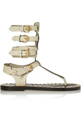 Isabel Marant Jeepy Studded Snake Effect Leather Sandals White