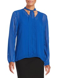 T Tahari Meryl Striped Chiffon Blouse Blue