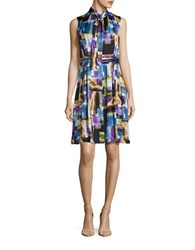 Ellen Tracy Printed Pleat A Line Dress Purple Multi