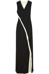 Reed Krakoff Two Tone Wrap Effect Silk Gown Black