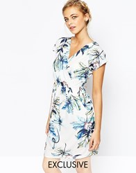 Closet Wrap Front Pleated Pencil Dress Tealfloral