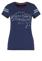 Superdry Print Tshirt Nautical Navy Dark Blue