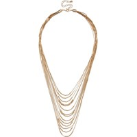 River Island Womens Gold Tone Layered Chain Necklace