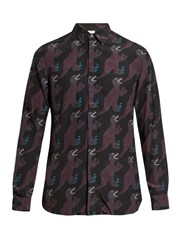 Paul Smith Dino Print Point Collar Shirt Burgundy