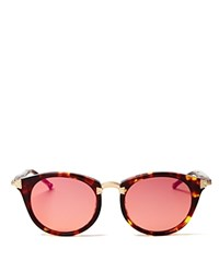 Wildfox Couture Sunset Combo Round Mirror Sunglasses 50Mm Tortoise Pink Mirror