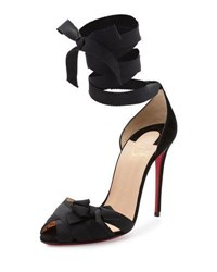 Christian Louboutin Christeriva Lace Up 100Mm Red Sole Sandal Black