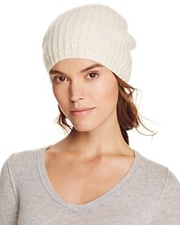 Bloomingdale's C By Cashmere Rib Slouch Hat Ivory