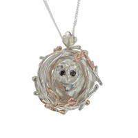 By Emily Barn Owl Necklace Black Diamonds Black Rose Gold Silver