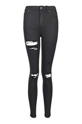 Topshop Moto Super Ripped Coated Jamie Jeans Black