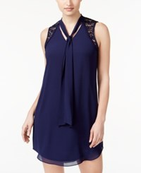 Amy Byer Bcx Juniors' Lace Trim Tie Neck Shift Dress Navy