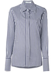 Victoria Beckham Checked Button Down Shirt Blue