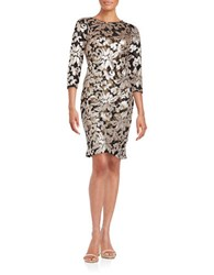 Sue Wong Sequined Lace Sheath Dress Gold