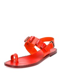 Jeweled Leather Toe Ring Sandal Fire Tomas Maier Red
