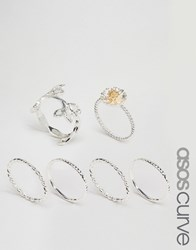 Asos Curve Pack Of 6 Leaf And Daisy Ring Pack Multi