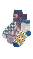 Free People Paradise Cove 3 Pack Ankle Socks Blue Combo