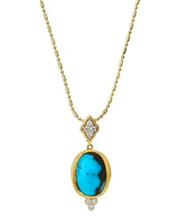 Jude Frances Judefrances Jewelry 18K Oval Turquoise And Diamond Pendant Necklace Women's