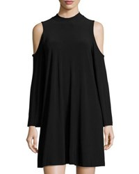 Neiman Marcus Solid Jersey Cold Shoulder Trapeze Dress Black