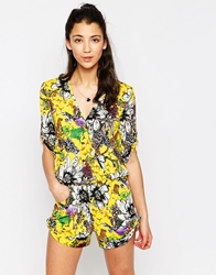 Traffic People Playsuit In Crazy Animal Print Yellow