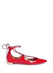 Aquazzura 'Christy' Lace Up Patent Leather Flats Red