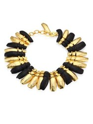 Josie Natori Two Tone Brass And Darkwood Necklace Gold