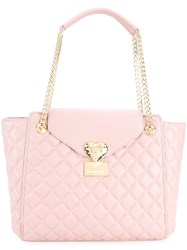 Love Moschino Quilted Tote Pink And Purple