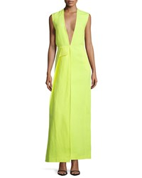 Cnc Costume National Sleeveless Plunging Neck Maxi Dress Neon Women's