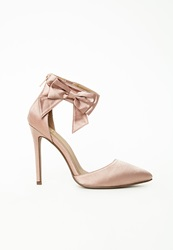 Missguided Ankle Strap Bow Detail Court Shoes Pink