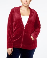 Karen Scott Plus Size Embellished Velour Hoodie Only At Macy's Prussian Red