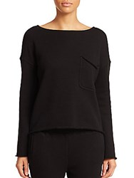 Atm Anthony Thomas Melillo Brushed French Terry Boatneck Top Black