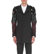 Comme Des Garcons Floral Embroidered Armour Jacquard Blazer Drk Grey Blk
