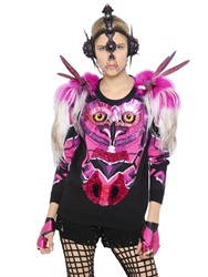 Manish Arora Owl Embellished Wool And Faux Fur Sweater