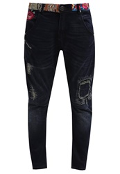 Desigual Broke Relaxed Fit Jeans Dark Blue Coated Denim