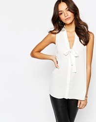 New Look Sleeveless Pussybow Blouse Winterwhite