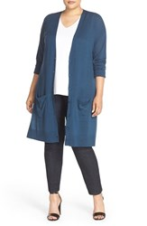 Halogenr Plus Size Women's Halogen Long V Neck Merino Blend Cardigan