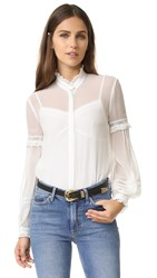 Needle And Thread Lace Collar Silk Shirt Chalk