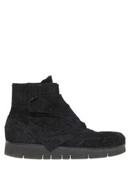 Alexandre Plokhov Cowhide Crust Leather High Top Sneakers Black