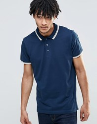 Brave Soul Tipped Polo Shirt Navy