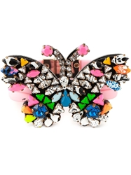 Shourouk Embellished Butterfly Bracelet Pink And Purple