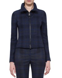 Akris Eda Fitted Plaid Wool Jacket Blue Jay Bluejay