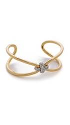 Giles And Brother Skinny X Knot Pave Cuff Bracelet Gold