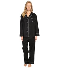 Bedhead Long Sleeve Classic Pajama Set Eiffel Embroidery Women's Pajama Sets Black