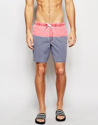 Asos Mid Length Swim Shorts In Blue Red With Acid Wash