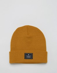 Asos Patch Beanie In Mustard Mustard Yellow