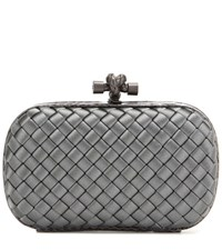 Bottega Veneta Knot Satin And Snakeskin Clutch Grey