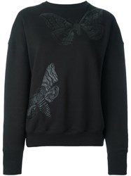 Alexander Mcqueen Moth Embroidered Sweatshirt Black