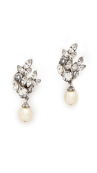 Ben Amun Crystal Imitation Pearl Earrings Clear Pearl