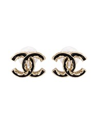 Chanel Vintage Enamelled Logo Earrings Black