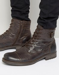 Jack And Jones Siti Leather Boots Brown